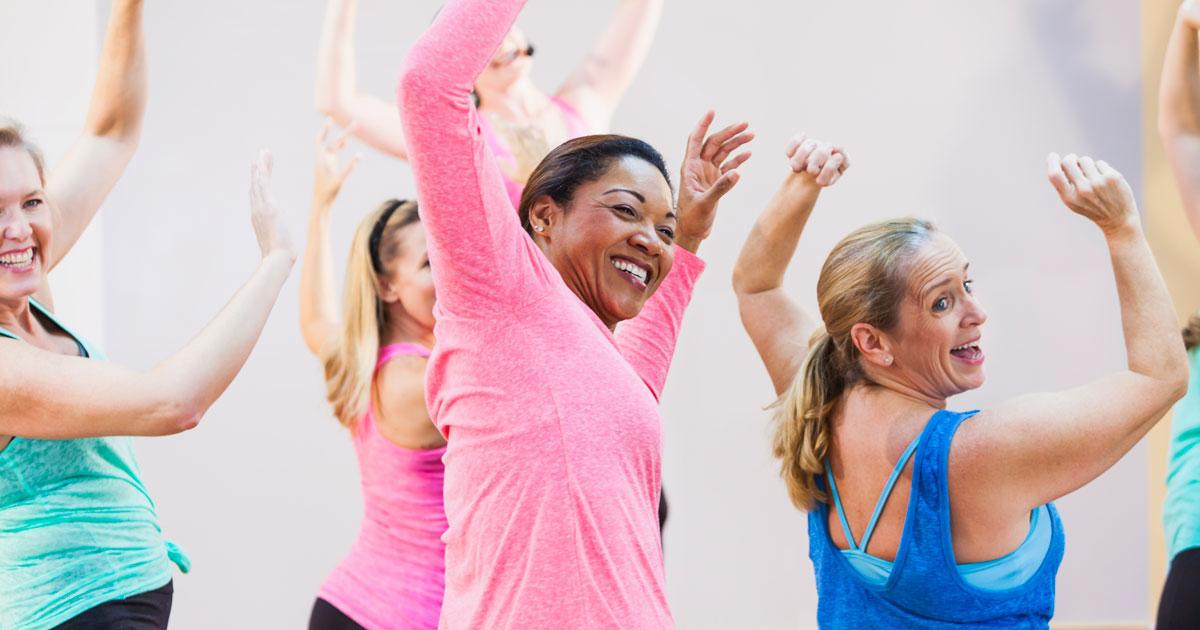 Women aerobic fitness group class