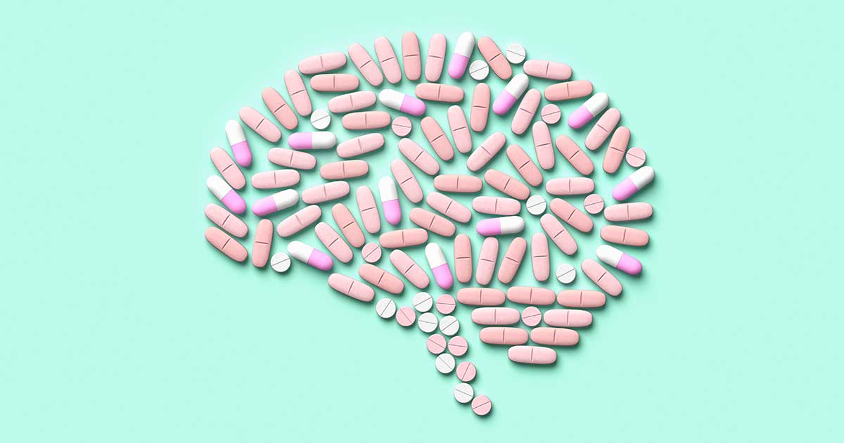 medication in the shape of a brain: graphic depicting preventative migraine medicine